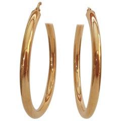 14 Karat Yellow Gold Hoop Earrings, Italian-Made, 3.5 Grams