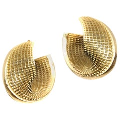 14 Karat Yellow Gold Hoop Earrings, Small Mobius, Netline Fine Jewelry