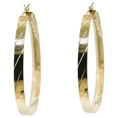 14 Karat Yellow Gold Hoop Earrings with Etched Design in Stock