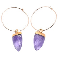 14 Karat Yellow Gold Hoops with Gold-Plated Amethyst Drops