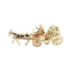 14 Karat Yellow Gold Horse and Carriage Charm