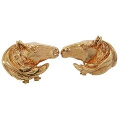 14 Karat Yellow Gold Horse Head Omega Back Stud Earrings