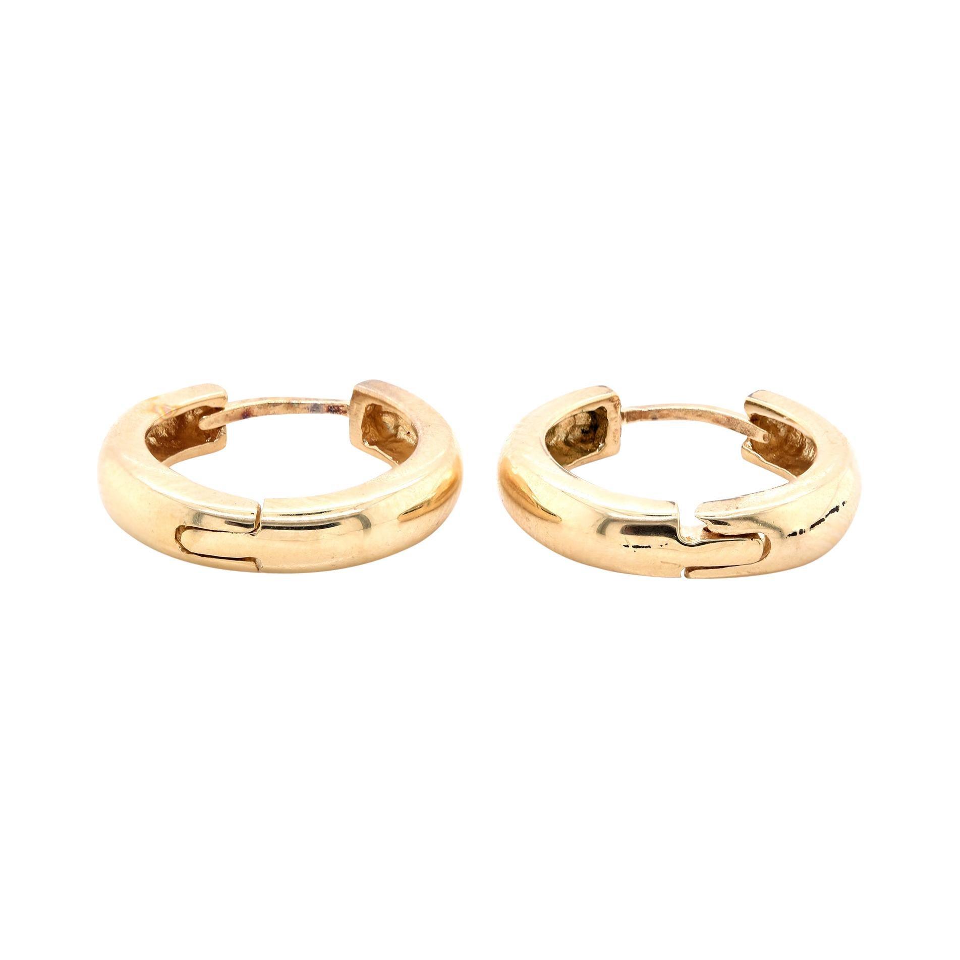14 Karat Yellow Gold Huggie Hoop Earrings