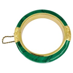 14 Karat Yellow Gold & Imitation Malachite Bangle Bracelet