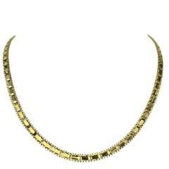 14 Karat Yellow Gold Imperial Gold Mirror Bar Link Chain Necklace
