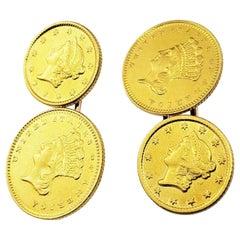 14 Karat Yellow Gold Indian Head Coin Cufflinks