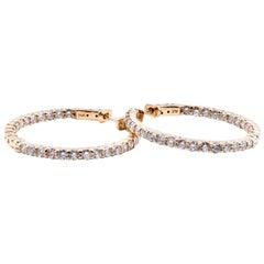 14 Karat Yellow Gold Inside / Outside 3.00 Carat Diamond Hoop Earrings