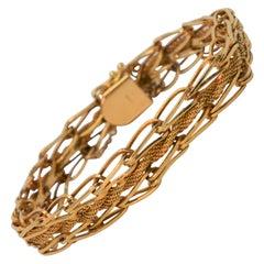 14 Karat Yellow Gold Intertwined Link Bracelet