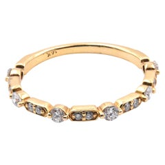 14 Karat Yellow Gold Intricate Diamond Band