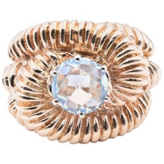 14 Karat Yellow Gold Intricate Rope Style Blue Topaz Fashion Ring