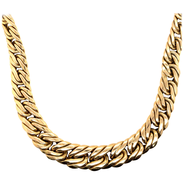 14 Karat Yellow Gold Italian Braided Link Necklace 56 Grams