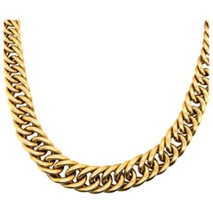 14 Karat Yellow Gold Italian Graduated Link Necklace 55.1 Grams
