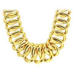 14 Karat Yellow Gold Italian Oval Link Chain Necklace