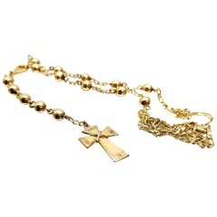 14 Karat Yellow Gold Italian Rosary Necklace