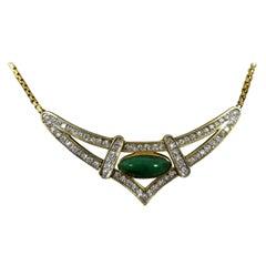 14 Karat Yellow Gold Jade and Diamond Pendant