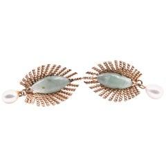 14 Karat Yellow Gold Jade and Pearl Earrings
