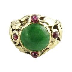 14 Karat Yellow Gold Jade and Ruby Ring