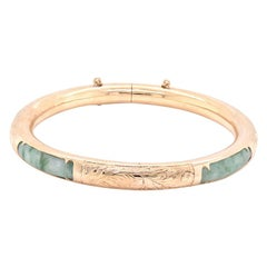 14 Karat Yellow Gold Jade Bangle Bracelet