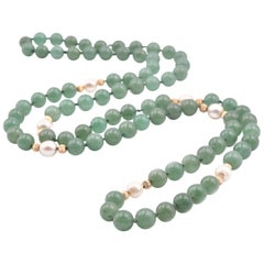 14 Karat Yellow Gold Jade Bead with Cultured Pearl Stations Necklace