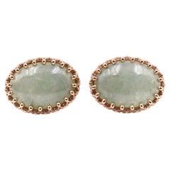 14 Karat Yellow Gold Jade Cabochon Earrings