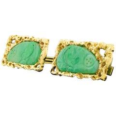 14 Karat Yellow Gold Jade Carved Nugget Cufflinks Large Heavy 22.45 Grams