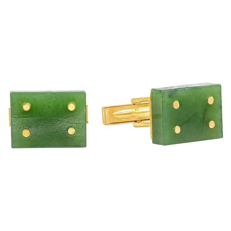 14 Karat Yellow Gold Jade Domino Cufflinks For Sale