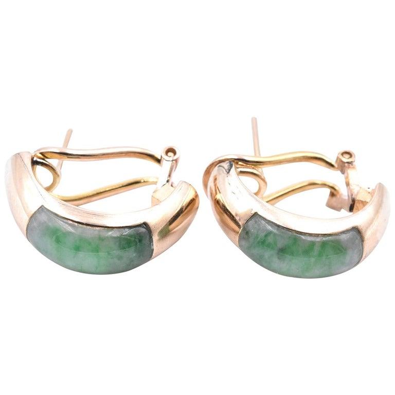 14 Karat Yellow Gold Jade Huggie Earrings For Sale