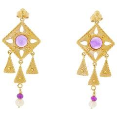 14 Karat Yellow Gold Kite Drop Dangle Earrings Amethyst Cabochon and Pearl