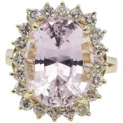 14 Karat Yellow Gold Kunzite and Diamond Halo Cocktail Ring