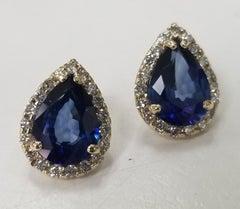 14 Karat Yellow Gold Lab Created Sapphire and Diamond Pear Shape Halos