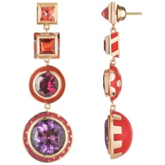 14 Karat Yellow Gold, Lacquer Enamel, Amethyst Candy Lacquer Chandelier Earrings