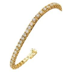 14 Karat Yellow Gold Ladies 5.25 Carat Diamond Tennis Bracelet