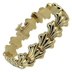 14 Karat Yellow Gold Ladies Fancy Shell Design Link Bracelet