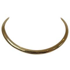 14 Karat Yellow Gold Ladies Omega Link Collar Necklace