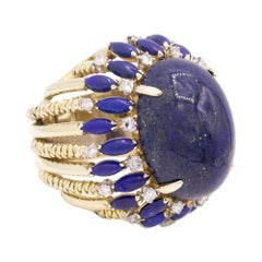14 Karat Yellow Gold Lapis and Diamond Cocktail Ring