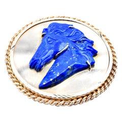 14 Karat Yellow Gold Lapis Carved Horse Head Pin