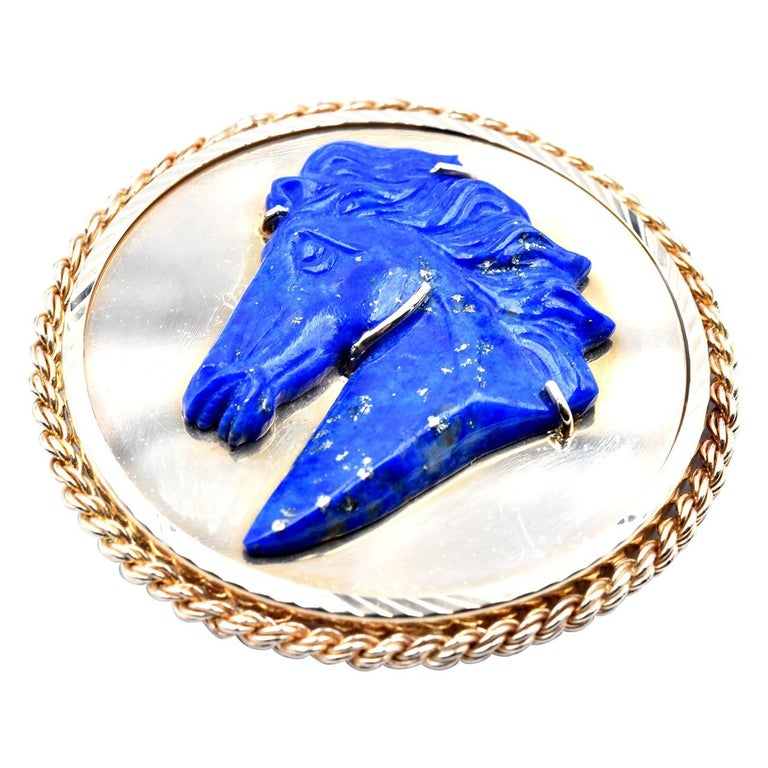 14 Karat Yellow Gold Lapis Carved Horse Head Pin For Sale