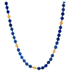 14 Karat Yellow Gold Lapis Lazuli Beaded Necklace