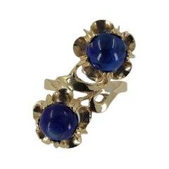 14 Karat Yellow Gold Lapis Lazuli Flower Bypass Ring