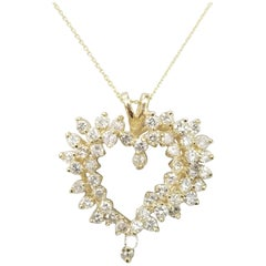14 Karat Yellow Gold Large Diamond Heart Pendant
