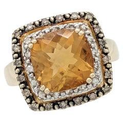 14 Karat Yellow Gold Le Vian Citrine Chocolate Diamond White Sapphire Ring