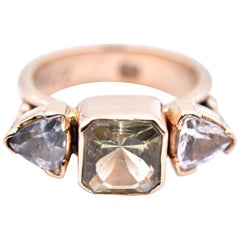 14 Karat Yellow Gold Lemon Quartz and White Topaz Three-Stone Ring