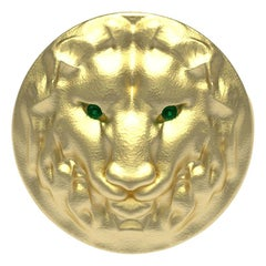 14 Karat Yellow Gold Leo Lion Head Signet Ring with Tsavorites