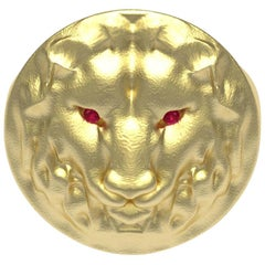 14 Karat Yellow Gold Leo Lion Head Signet Ring with Rubies