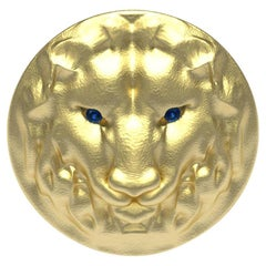 14 Karat Yellow Gold Leo Lion Head Signet Ring with Sapphires