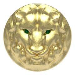 14 Karat Yellow Gold Leo Lion Head Signet Ring with Tsavorites
