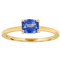 14 Karat Yellow Gold Light Blue Sapphire Petite Solitaire Ring '2/3 Carat'