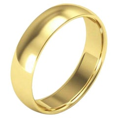 14 Karat Yellow Gold Light Domed Comfort Fit Wedding Band, Estate