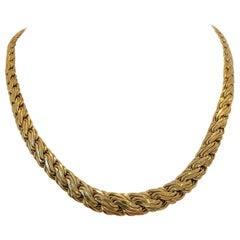 14 Karat Yellow Gold Light Hollow Graduated Fancy Link Necklace