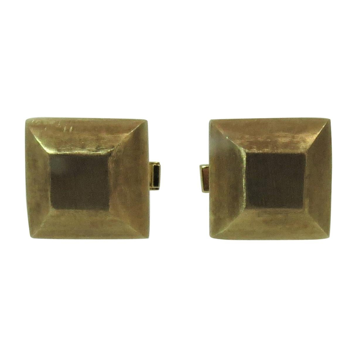 14 Karat Yellow Gold Linen Finish Square Cufflinks